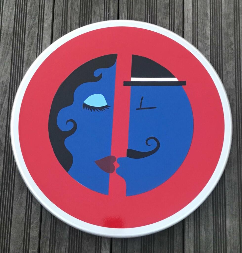 sandrine estrade boulet - bisou panneau couple